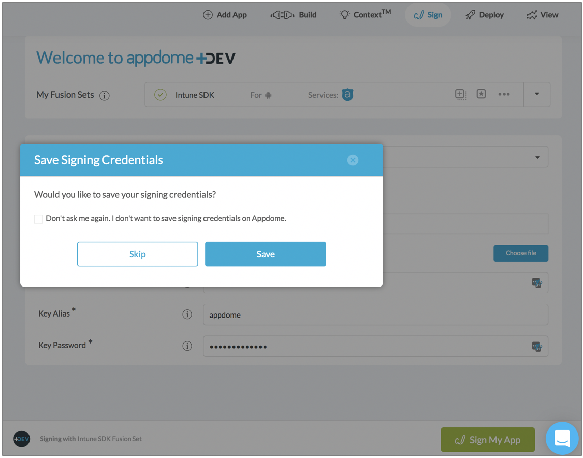 saving signing credentials on Appdome - Signing Android Apps