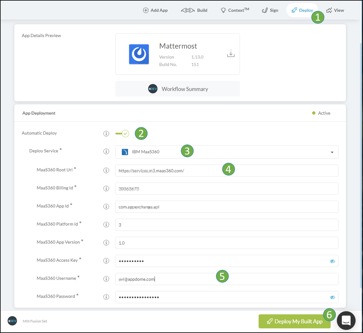 Configure Maas360 appstore autodeployment on appdome