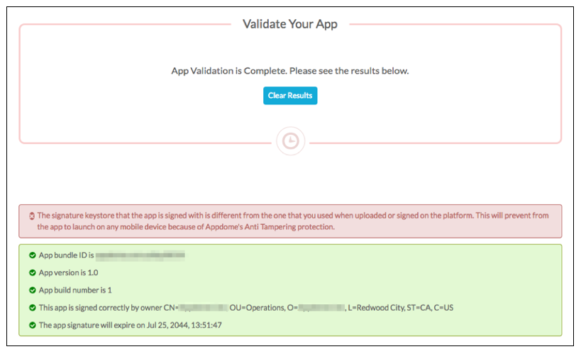 validate app signing on appdome
