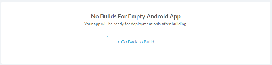 Deploy page: no builds for the app