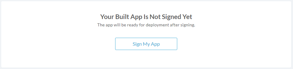 Deploy page: app is not siged