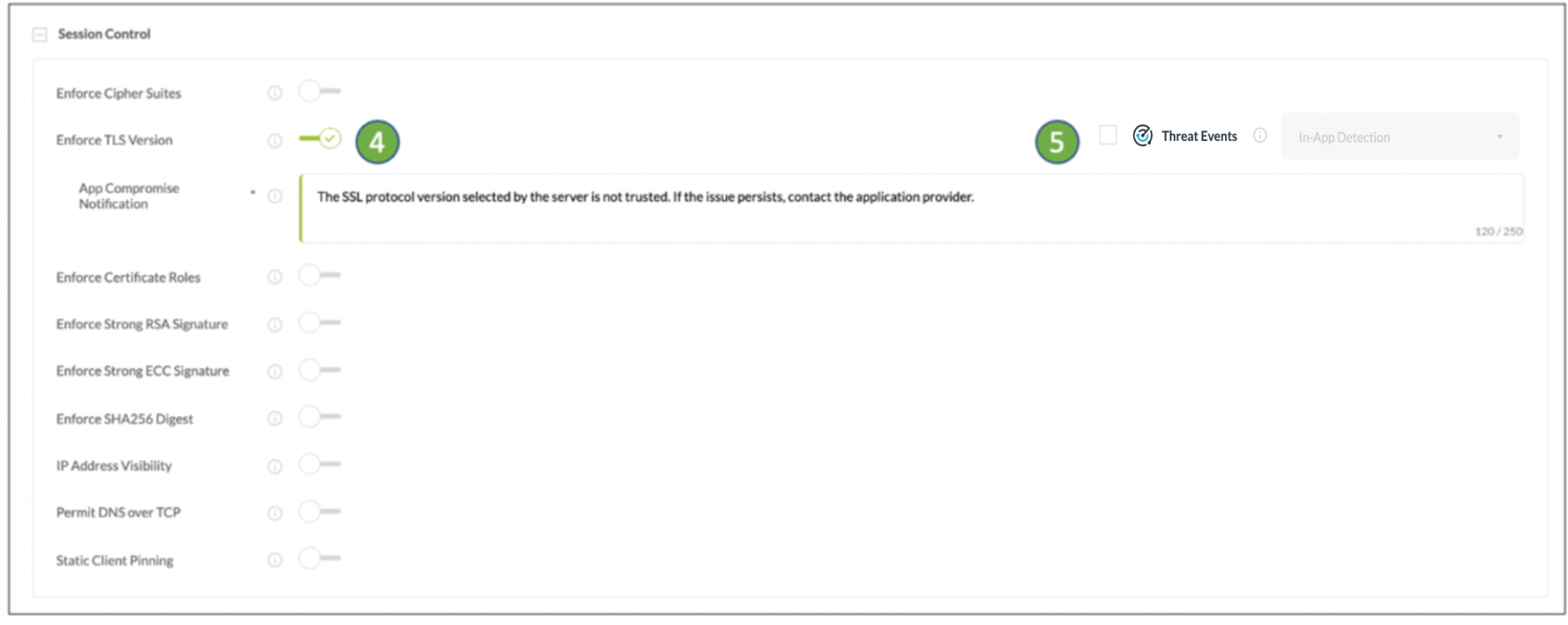 notify users of untrusted TLS version