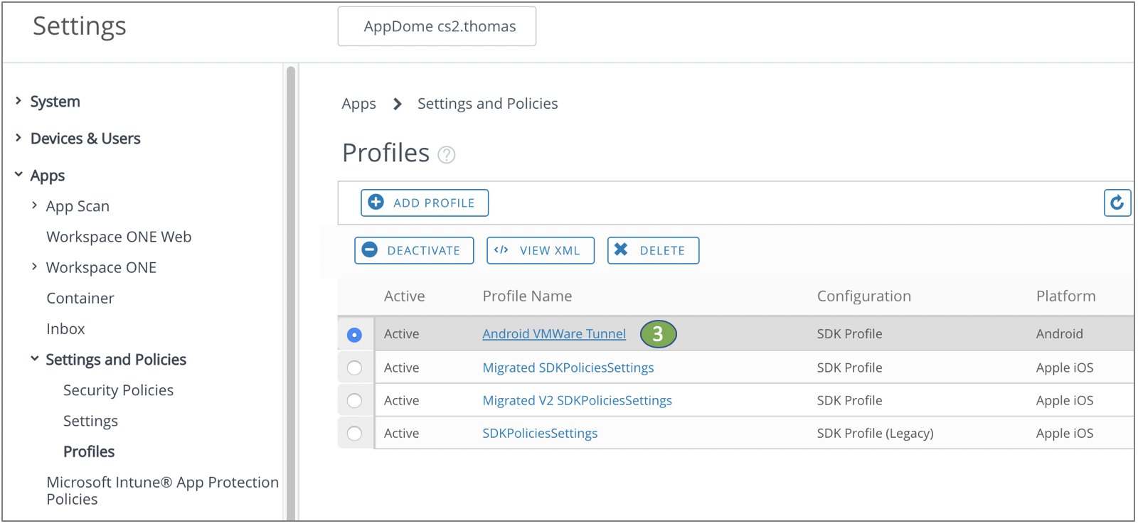 Adding configured elements to VMWare ONE SDK profile
