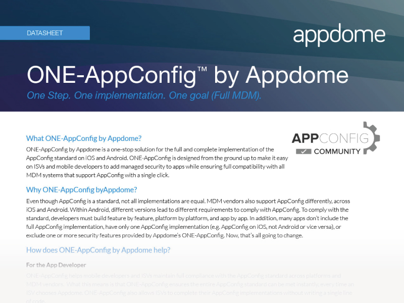 ONE-AppConfig by Appdome