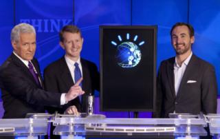 Alex Trebek and Ken Jennings with IBM Watson