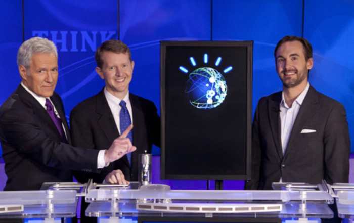 Alex Trebek and Ken Jennings with IBM Watson