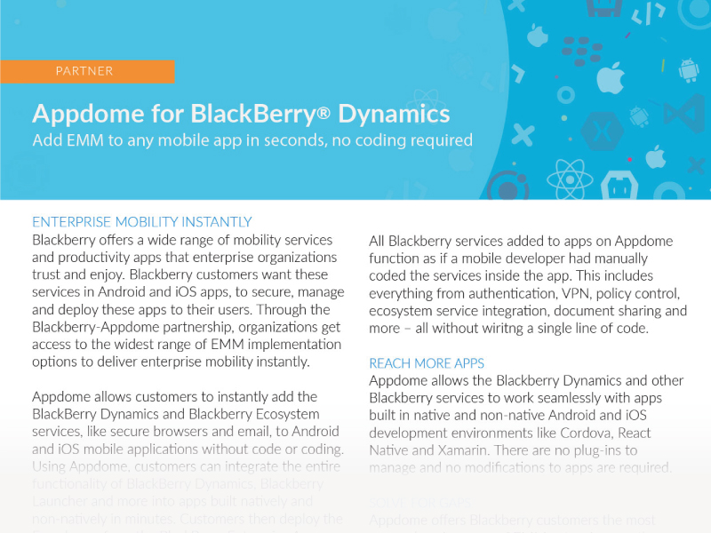 Appdome for BlackBerry Dynamics Integration