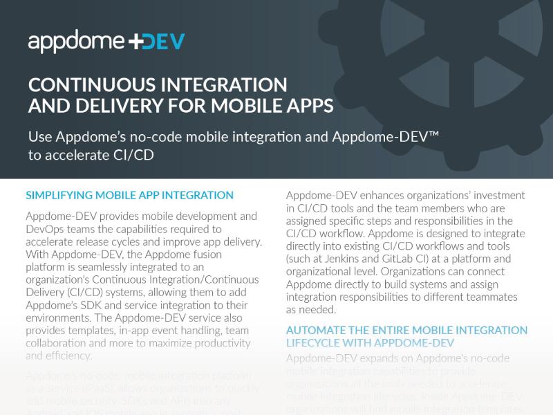 Appdome-DEV, a no-code CI/CD Workflow Integration solution