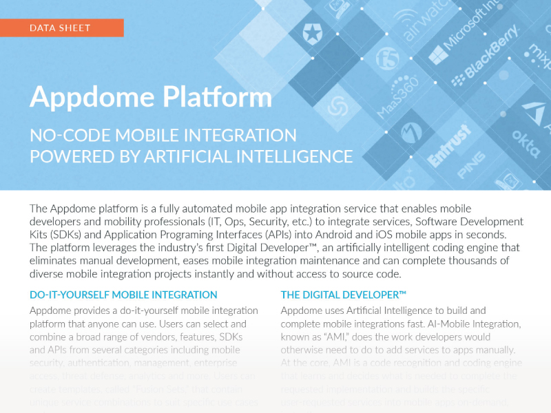 Appdome Platform, Mobile Integration Powered by Artificial Intelligence