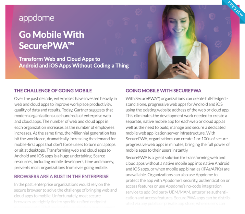 Go Mobile With SecurePWA™ from Appdome