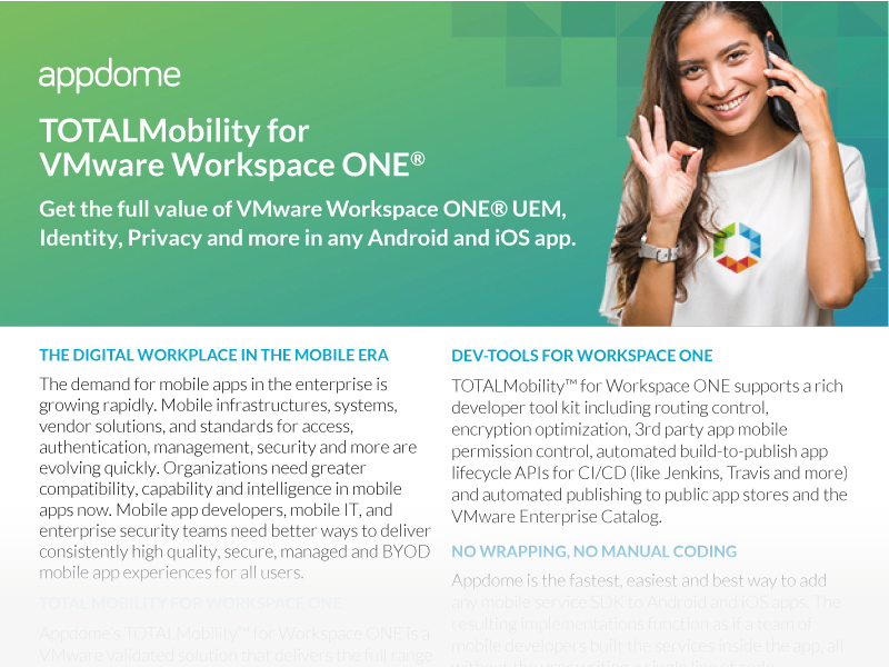 Appdome No-Code VMware Workspace ONE integration