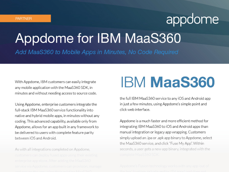 Appdome for IBM Maas360 integration