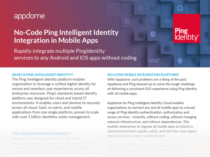 No-code Ping Identity for Mobile Apps