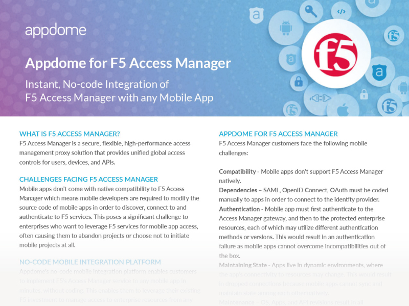 No-code F5 Access Manager Mobile Integration