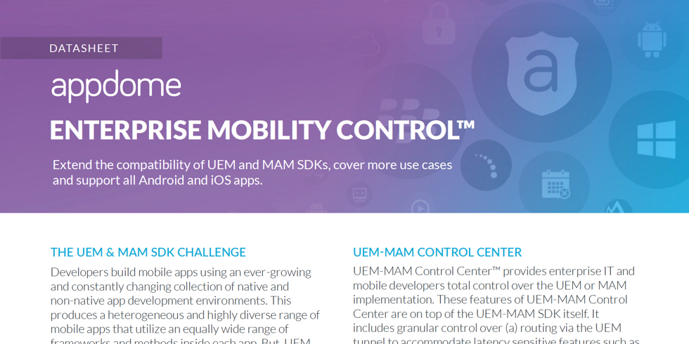 Appdome Enterprise Mobility Control datasheet preview