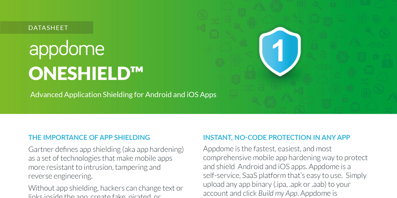 Appdome ONEShield App Shielding datasheet preview