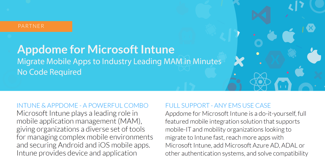 Appdome for Microsoft Intune datasheet preview