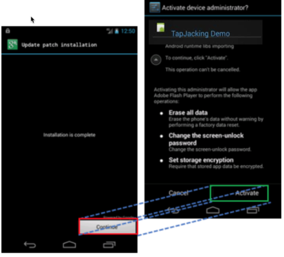 example of a screen overlay attack on Android